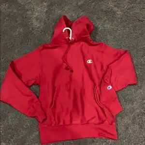 men's champion red hoodie